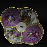 Antique Quatrefoil Decorated Meissen Style Pedestal Centerpiece, Dresden