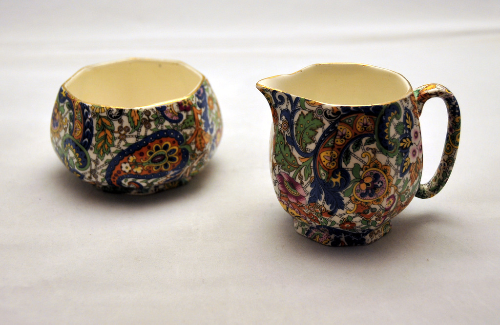 Vintage,  Stattfordshire Paisley Chintz Cream and Sugar Servers