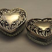 ANTIQUE,  Pr of Elegant Heart Formed Sterling with Cut Glass Powder or Vanity Jars