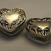 ANTIQUE,  Pr of Elegant Heart Formed Sterling with Cut Glass Powder or Vanity Jars