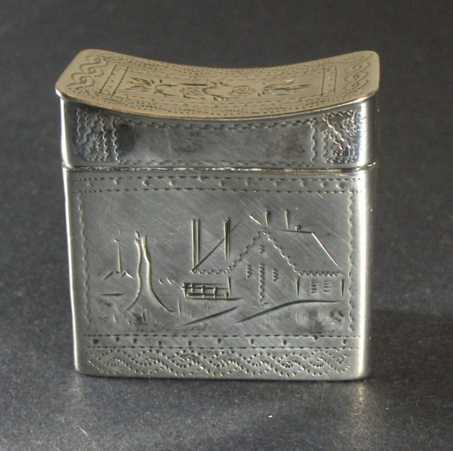 Antique  Hand -made Sterling Silver Snuff Box