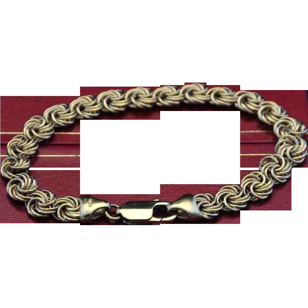 VINTAGE &  STUNNING,  Italian 18kt Gold Byzantine Bracelet