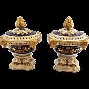 *SALE EXCEPTIONAL!  English Derby Porcelain Pot Pourri Mantle Urns