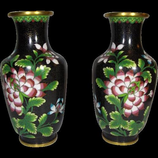 ANTIQUE, Chinese Black Cloisonne Floral  Vases 19th century