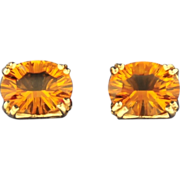 VINTAGE & BEAUTIFUL, Large Oval Citrine Earrings with 14 KT Yellow Gold