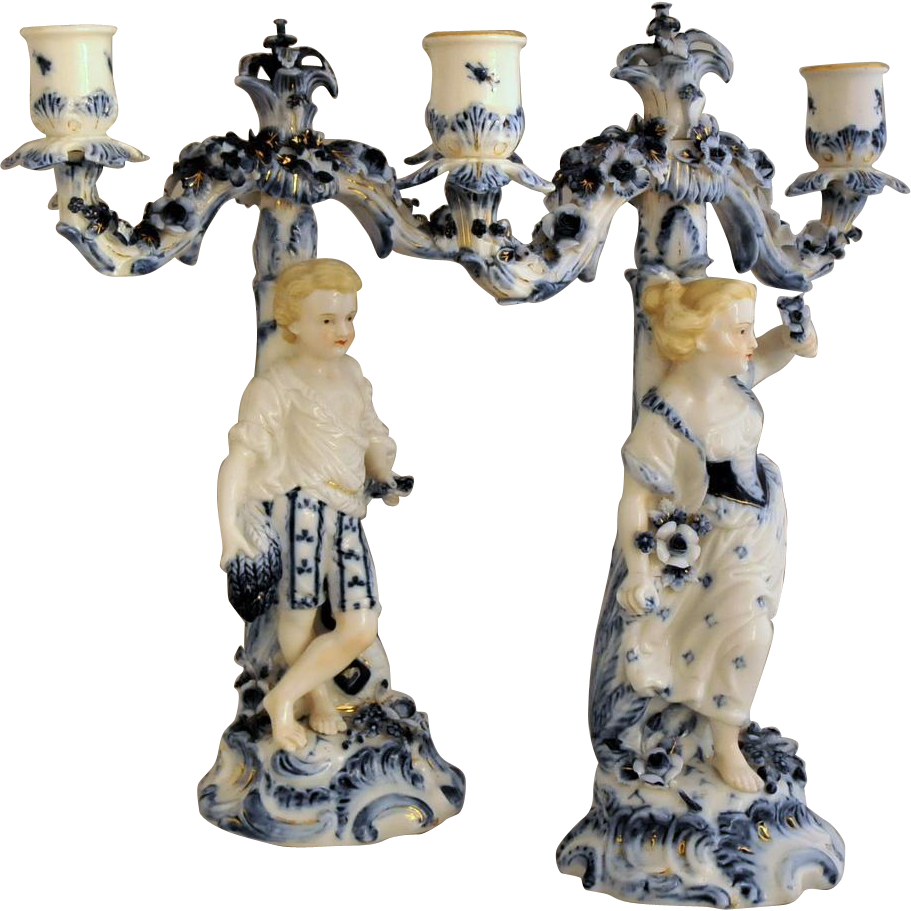 "Antique Pr. of ""Seasons"" Figural Candelabra 19th Century"