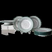 ANTIQUE, 19th C. Mintons Hand Painted 9 Piece Dessert Set