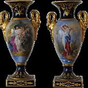 ANTIQUE, Pr. Carl Theime Dresden Oviform Mantel Urns,circa 1870.