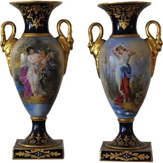ANTIQUE, Pr. Carl Theime Dresden Oviform Mantel Urns,circa 1870.