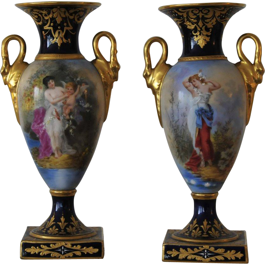 EXCEPTIONAL ANTIQUE, Pair Carl Theime Dresden Oviform Mantel Urns, circa 1870.