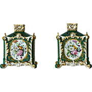 JACOB PETITE, Pair Square Potpourri Vases with  Pierced Lids, 19th Century