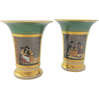 STUNNING, Pair of Paris Porcelain Hand Painted  Mantel Urns