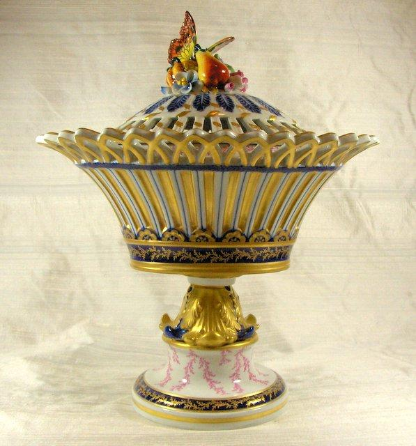 19th Century Hand-Painted Sevres Style Potpourri Pedestal Vase and Cover