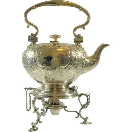 Antique Elkington Tilting Silver Plate Water Kettle with Lamp-Stand, circa 1800