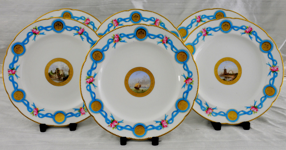 Rare,  19th century Mintons Hand-Painted Cabinet Plates, H T Mitchell