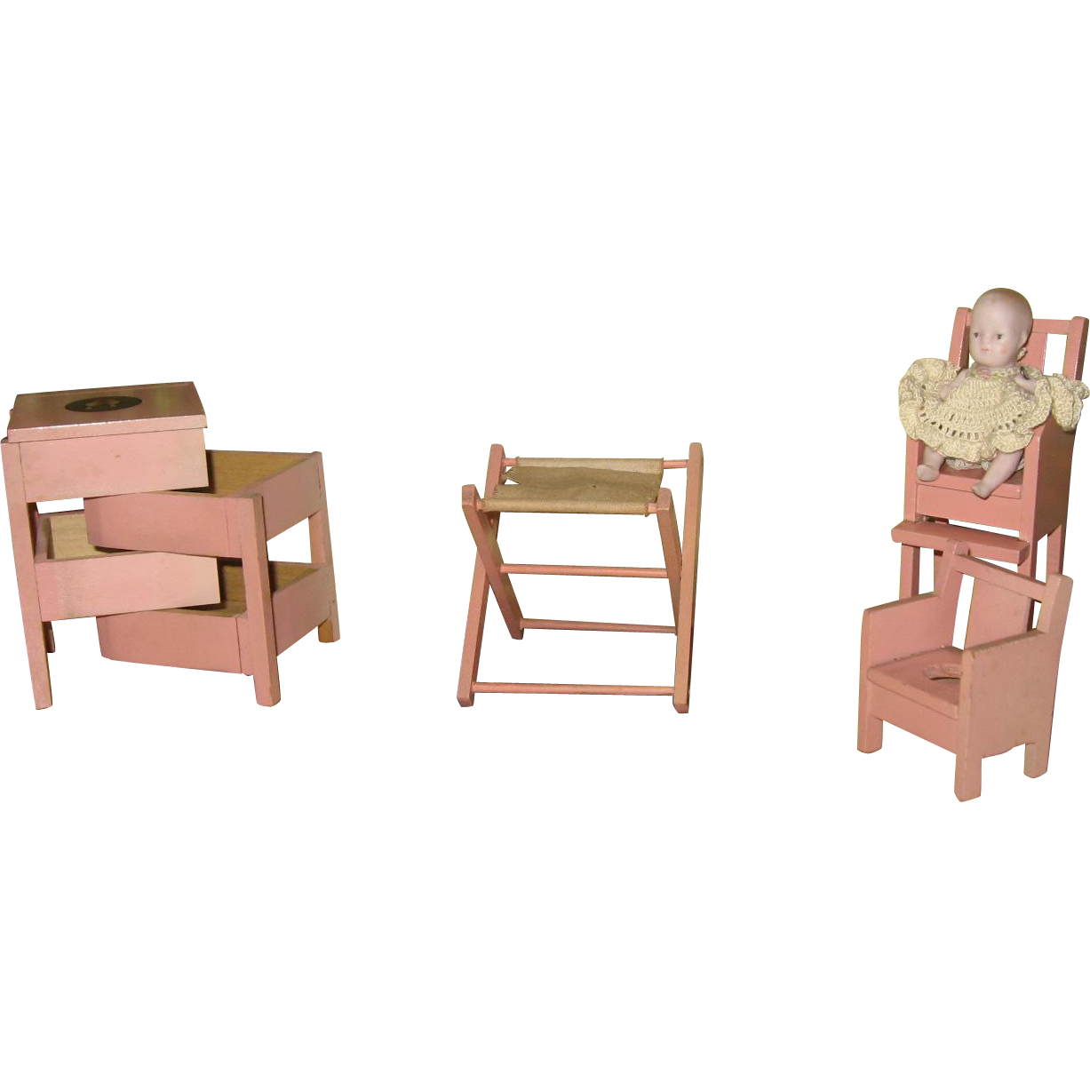Vintage Group Of Baby Room Doll House Furniture With Doll