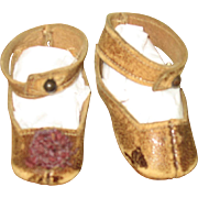 Antique doll shoes with heel