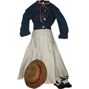 Mariner style skirt and blouse for antique doll