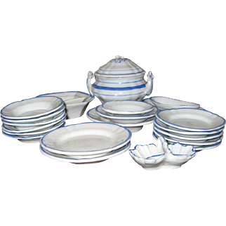 Blue and white French doll size dinner set