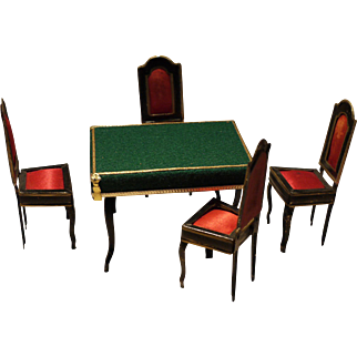 Dollhouse card table and chairs/ Rock and Graner