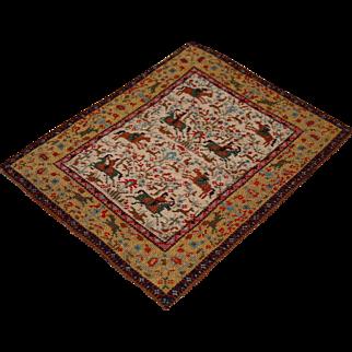 Vintage Petitpoint Hand made doll house rug