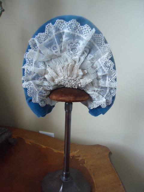 Lovely Blue Velvet Bonnet