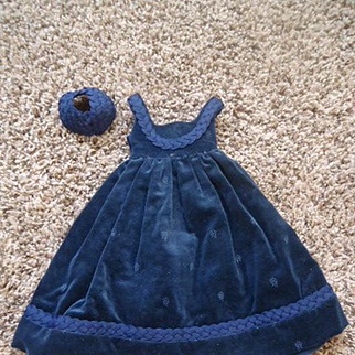 Lovely Blue  Velvet Dress for your lady
