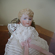 Sweet all original bisque baby with Antique Chair