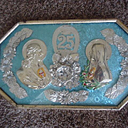 Wonderful Holy Family in Silver encased in bubble glass and metal Frame
