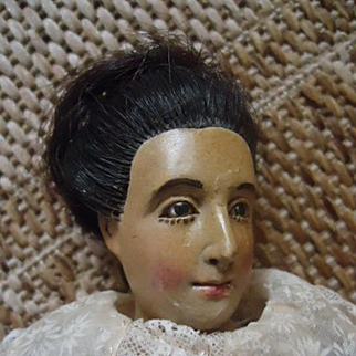 "Rare and Early 14"" Jointed Wood Lady that is all original"