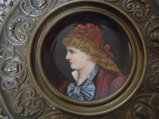 Lovely Porcelain Portrait Plate in Ornate Metal Frame
