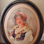 Beautiful Dated 1925 Original Watercolor of a Gypsy Girl