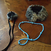 Lovely Little Hat, Wrap and blue beaded necklace for French Fashion
