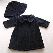 Vintage Wool Doll's Coat & Hat