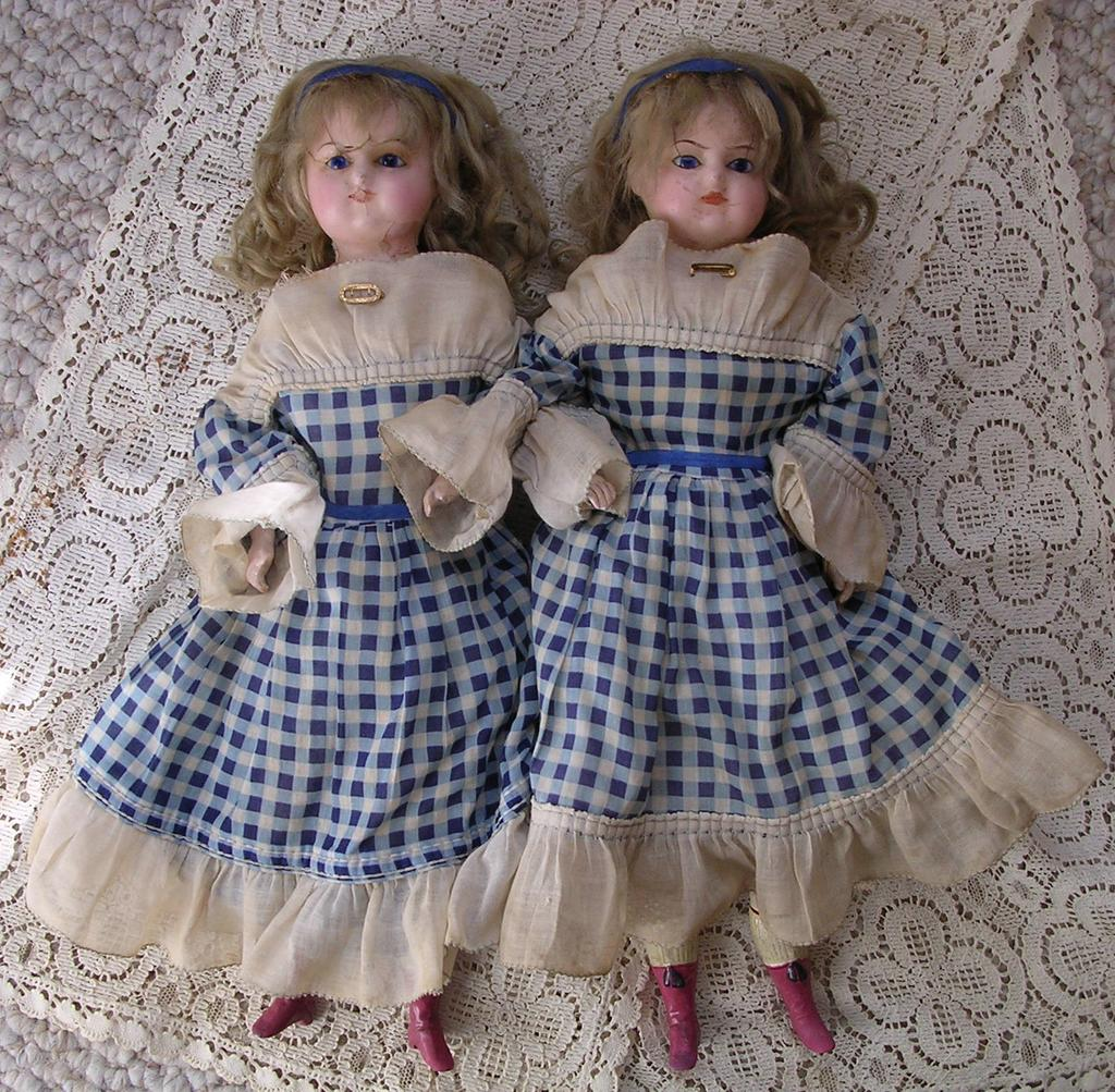 "15 1/2"" Wax Over Compositions Twin Dolls"