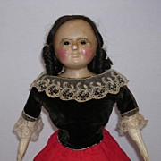"25"" Early English Wax Over Composition Doll"