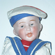 "8"" Bisque Head Character Boy Doll ~ Dressed as a Sailor"
