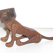 Articulated Wood Dog - Folk Art Type