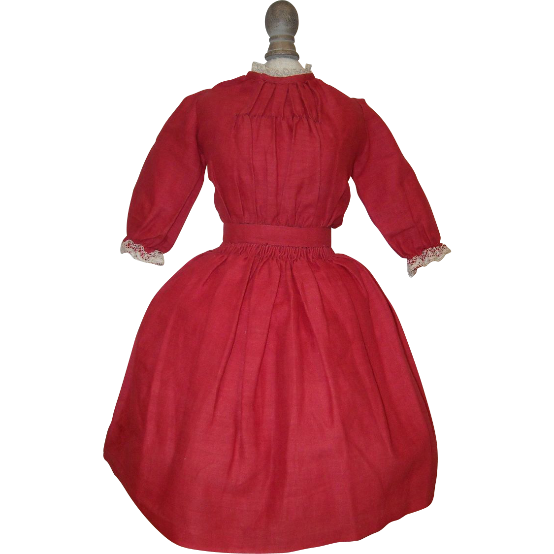Antique Red Doll Dress