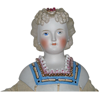 "25"" Ornately Decorated Early Parian Doll"