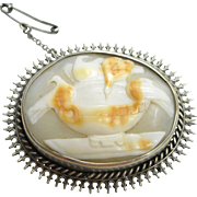 Shell Cameo Brooch of Pliny's Doves