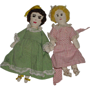 Two Small Homemade Cloth Dolls