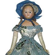 "15"" Civil War Era Wax-Over Doll with Wardrobe"