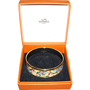 Hermes Birds Enamel Bracelet with Box