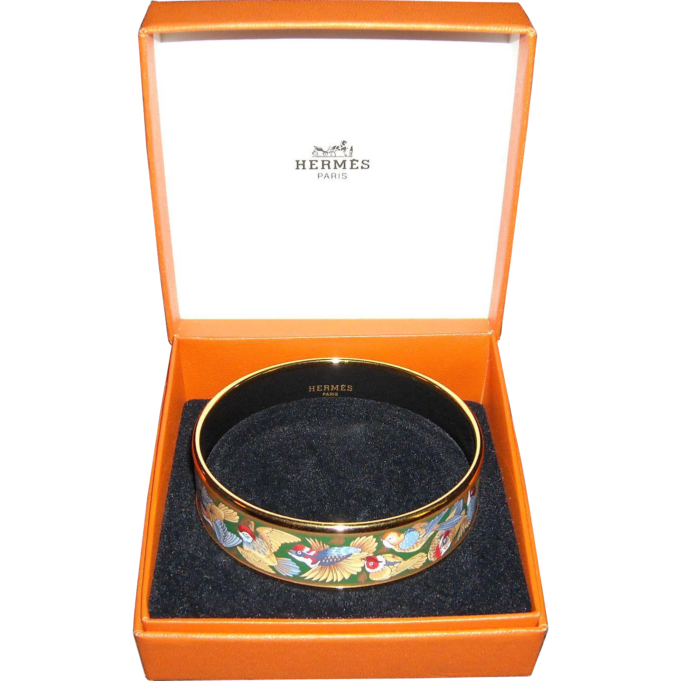 Hermes Birds Enamel Bracelet with Box