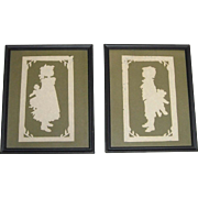 Pair of Framed Cut Paper Silhouettes