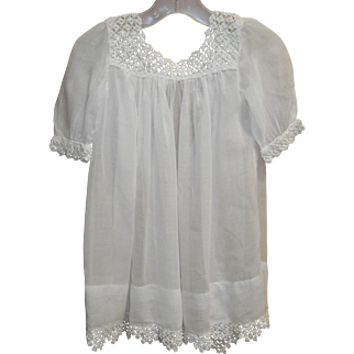 White Baby Dress with Crochet Edging