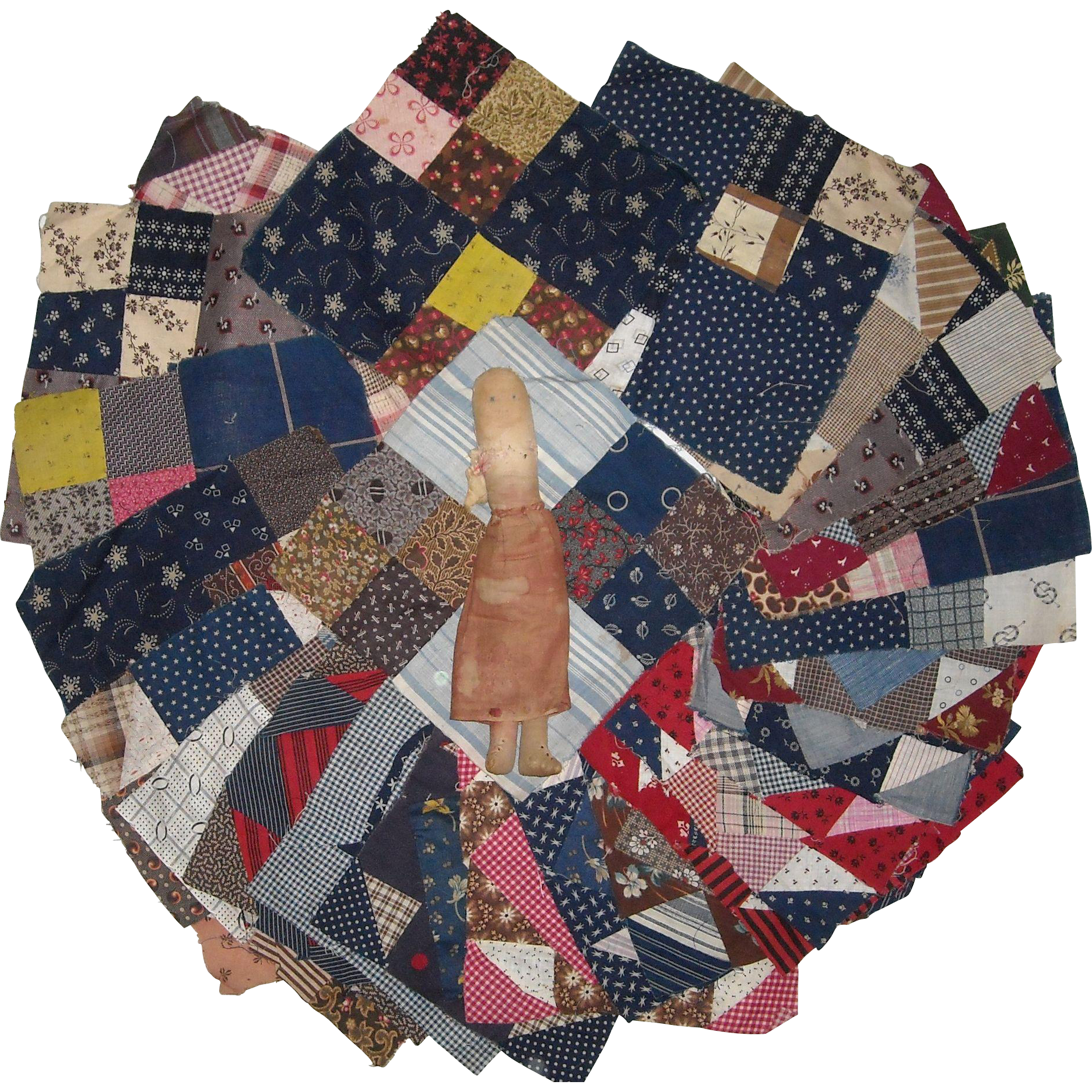25 Early Quilt Squares, Home Made Doll and Quilt Fabric Pieces