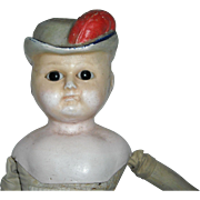 "21"" Wax-Over Composition Bonnet Head Doll"