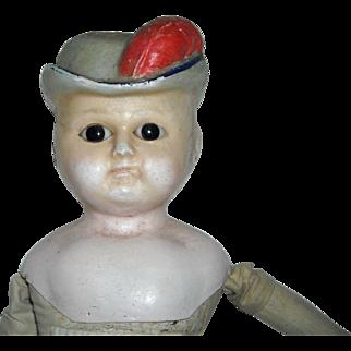 "21"" Wax-Over Composition Bonnet Head Doll"